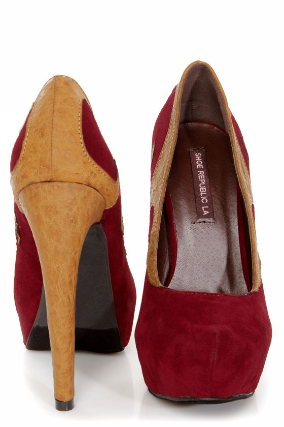 Shoe Republic LA Globe Wine Two-Tone Flames Platform Pumps at Lulus.com!