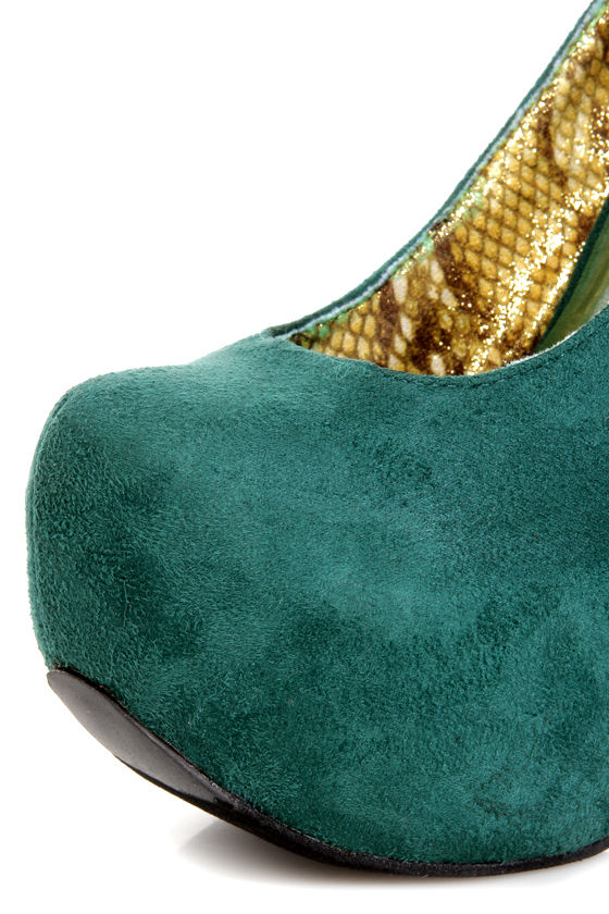Promise Mendoza Green Ankle Strap High Platform Heels at Lulus.com!