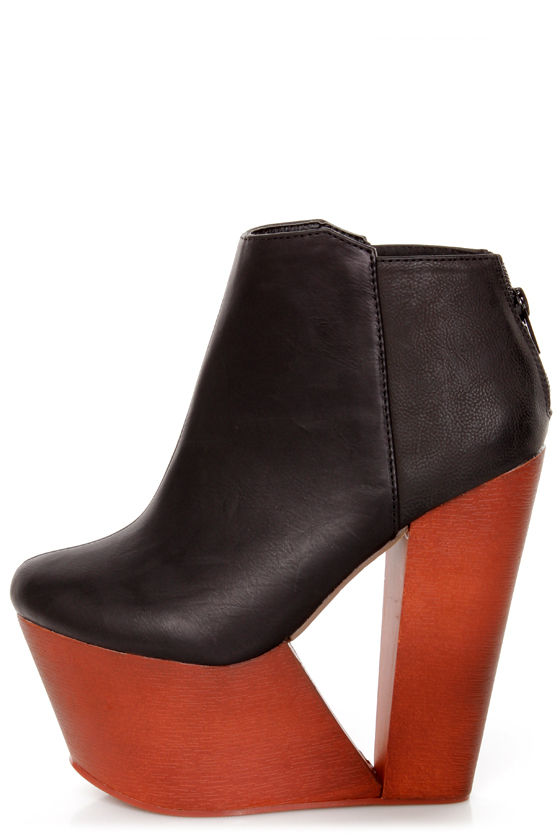 Privileged Deena Black Sculptural Cutout Wedge Booties at Lulus.com!