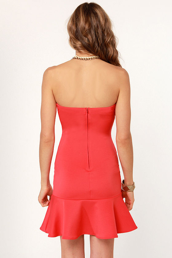 Trumpet Vine Strapless Coral Dress at Lulus.com!