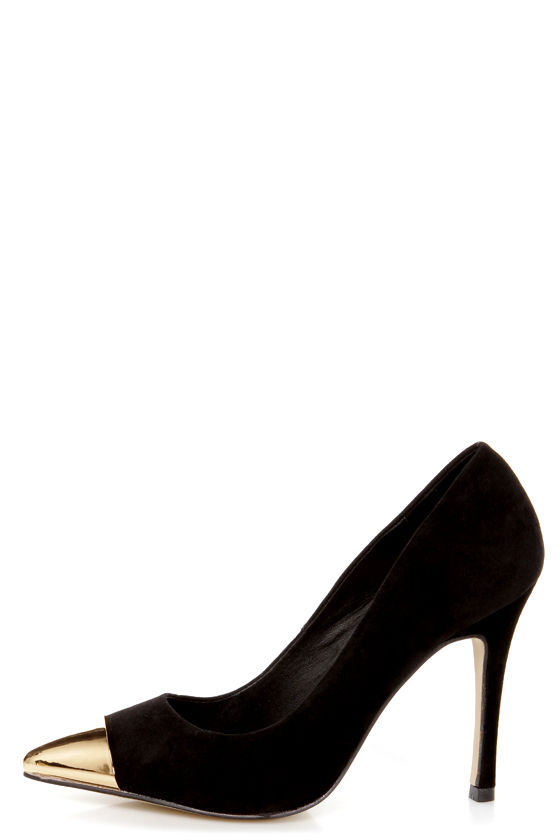 Mixx Shuz Teresa Black and Gold Cap-Toe Pointed Pumps at Lulus.com!