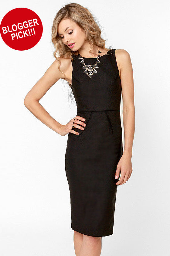 Lovley Black Dress - Midi Dress - Sleeveless Dress - $40.00