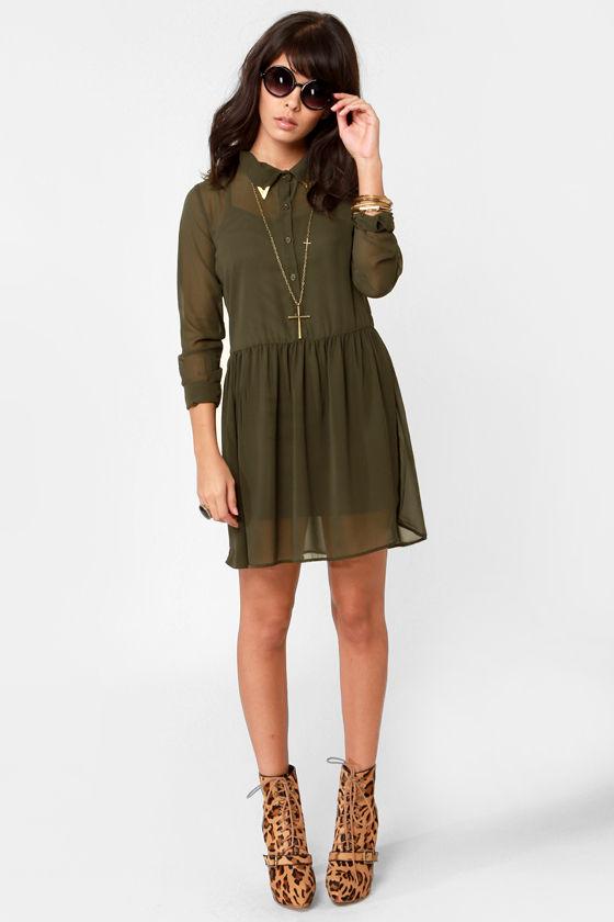 812350c5 Cute Olive Green Dress - Shirt Dress - Embellished Collar Dress - $42.00