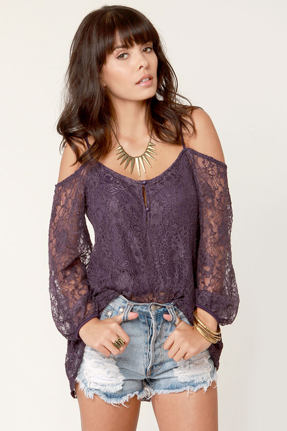 3b09eab8a70df Pretty Off-the-Shoulder Tunic - Purple Top - Lace Top -  46.50