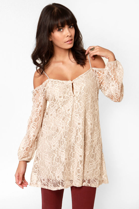 In Good Shake-spirits Off-the-Shoulder Beige Lace Tunic Top at Lulus.com!