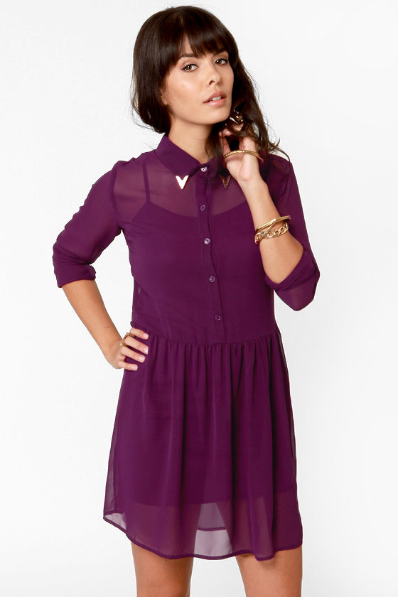 Cute Purple Dress Shirt Dress Embellished Collar Dress
