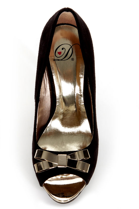 My Delicious Idol Black Metal Bow Peep Toe Pumps at Lulus.com!