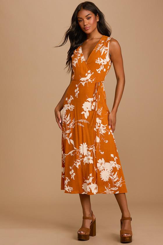 Lulus | Best Day Yet Rust Orange Floral Print Midi Wrap Dress | Size X-Large | 100% Polyester