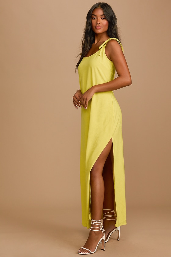 Lulus | Salt Water Breeze Chartreuse Tie-Strap Maxi Dress | Size Large | Green | 100% Polyester