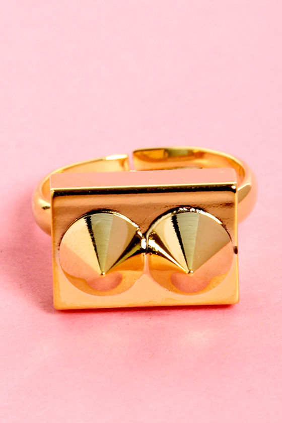 Spike-easy Gold Studded Ring at Lulus.com!