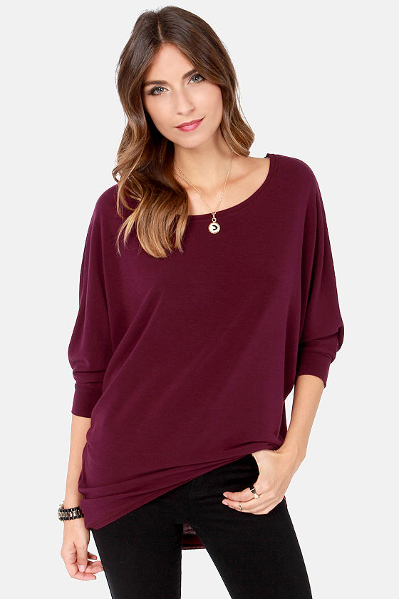 Novel-Tee Shop Burgundy Top at Lulus.com!