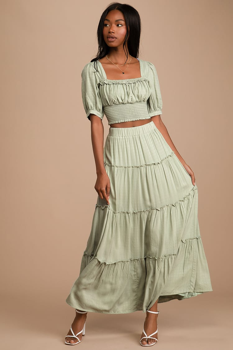 Sweeten the Moment Sage Green Tiered Two-Piece Maxi Dress