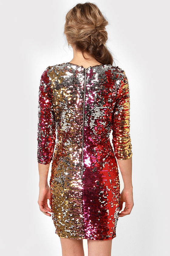 Rubber Ducky Wildfire Multi Sequin Dress at Lulus.com!