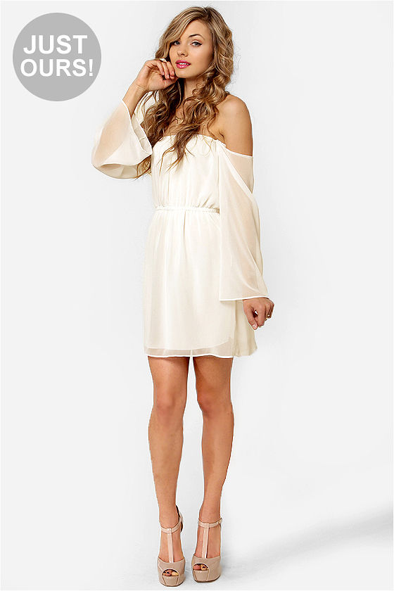 LULUS Exclusive Maiden Heaven Off-the-Shoulder Ivory Dress at Lulus.com!