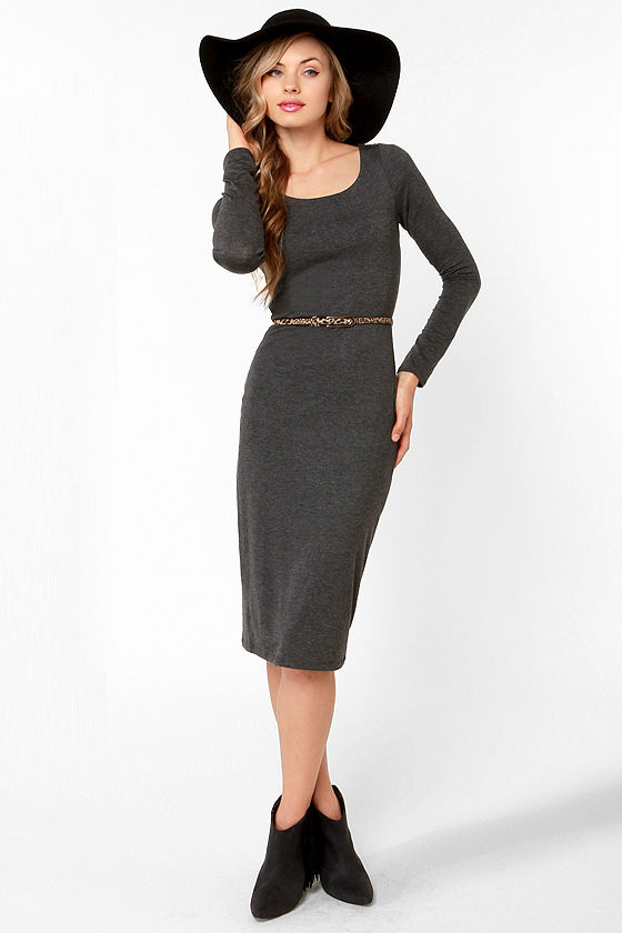 Essential Charcoal Grey Dress Long Sleeve Dress Midi