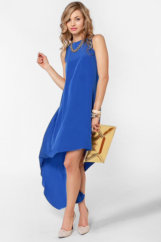LULUS Exclusive Float On Blue High-Low Dress at Lulus.com!