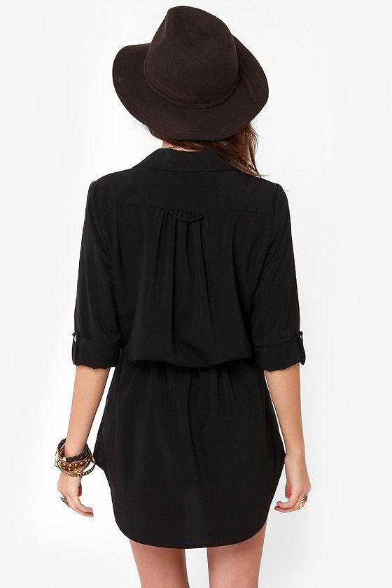 Lucy Love Celeste Black Shirt Dress at Lulus.com!