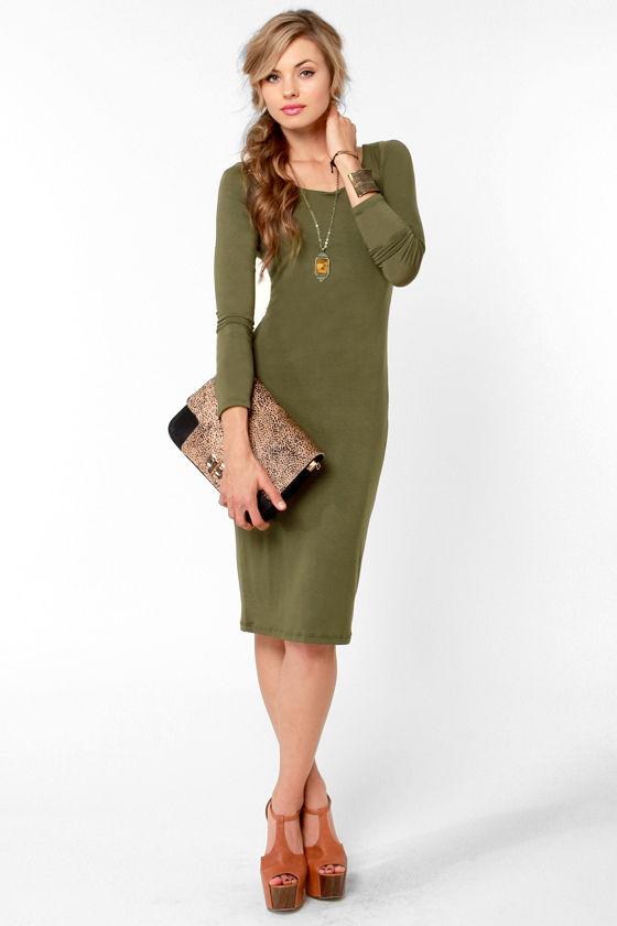 Essential Olive Green Dress - Long Sleeve Dress - Midi Dress - $35.50