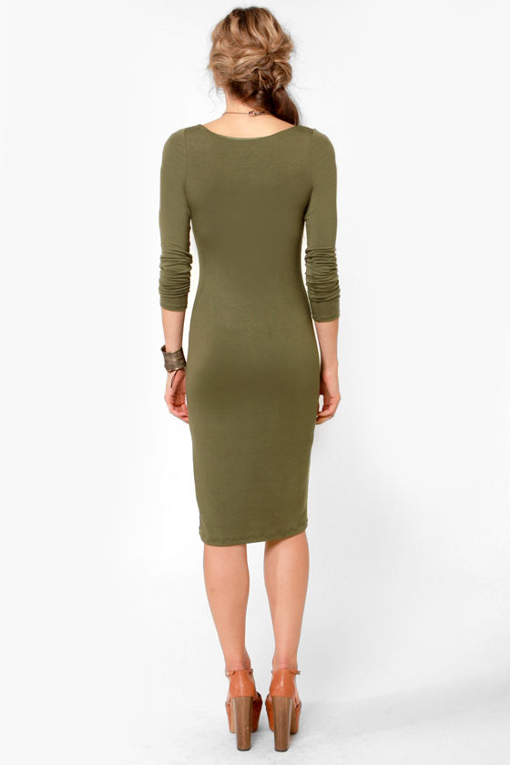 Com-Midi Club Olive Green Long Sleeve Dress at Lulus.com!