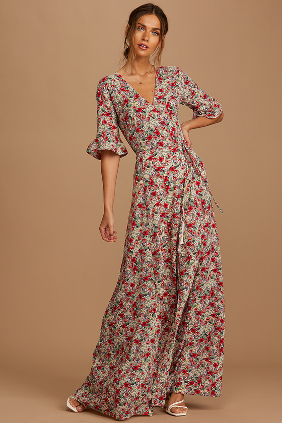 Lulus | September Sunsets White Multi Floral Print Wrap Maxi Dress | Size Small
