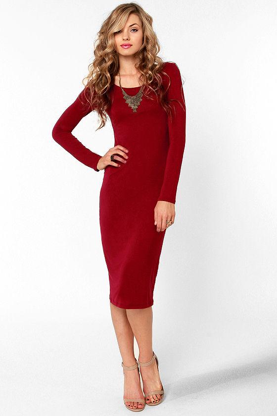 Com-Midi Club Wine Red Long Sleeve Dress at Lulus.com!