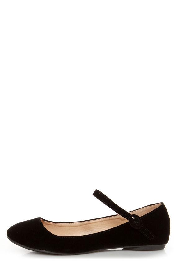 Doby 4 Black Velvet Mary Jane Ballet Flats -  19.00