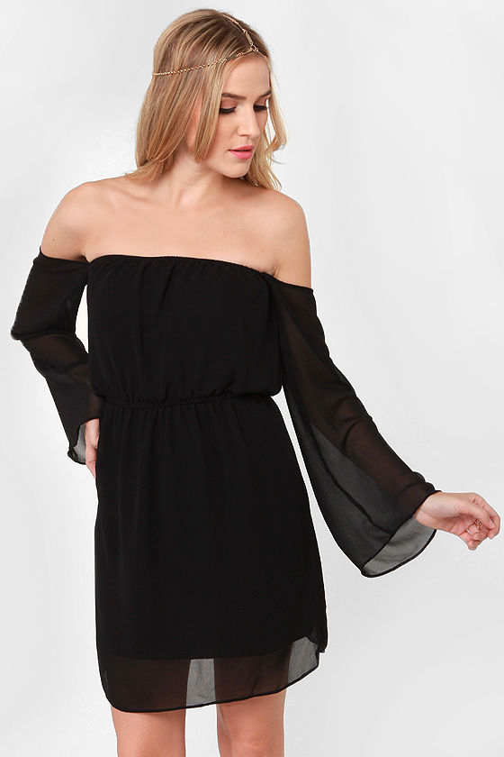 LULUS Exclusive Maiden Heaven Off-the-Shoulder Black Dress at Lulus.com!