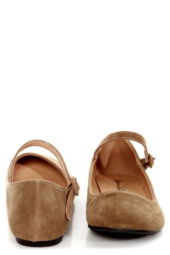 Doby 4 Taupe Velvet Mary Jane Ballet Flats at Lulus.com!