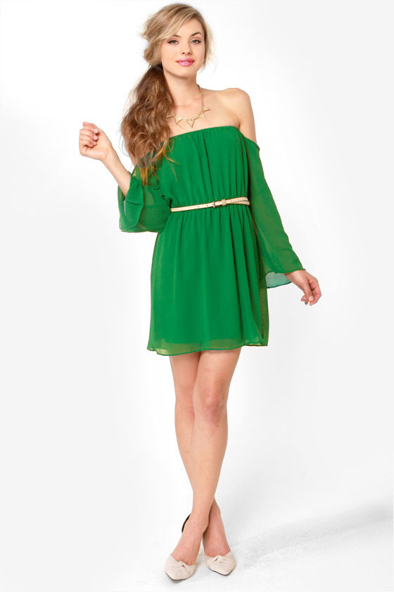 Maiden Heaven Off-the-Shoulder Green Dress at Lulus.com!