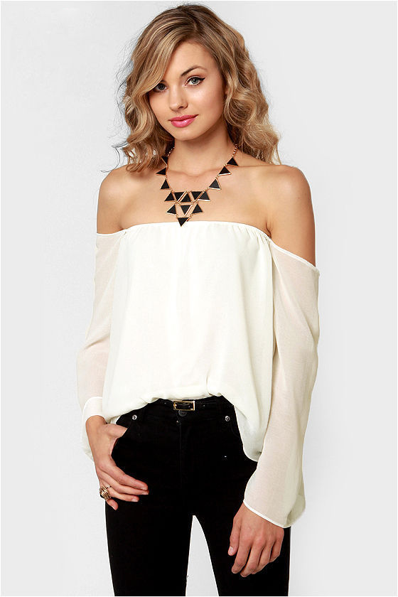 Sexy Off-the-Shoulder Top - Ivory Top - White Top - $32.00