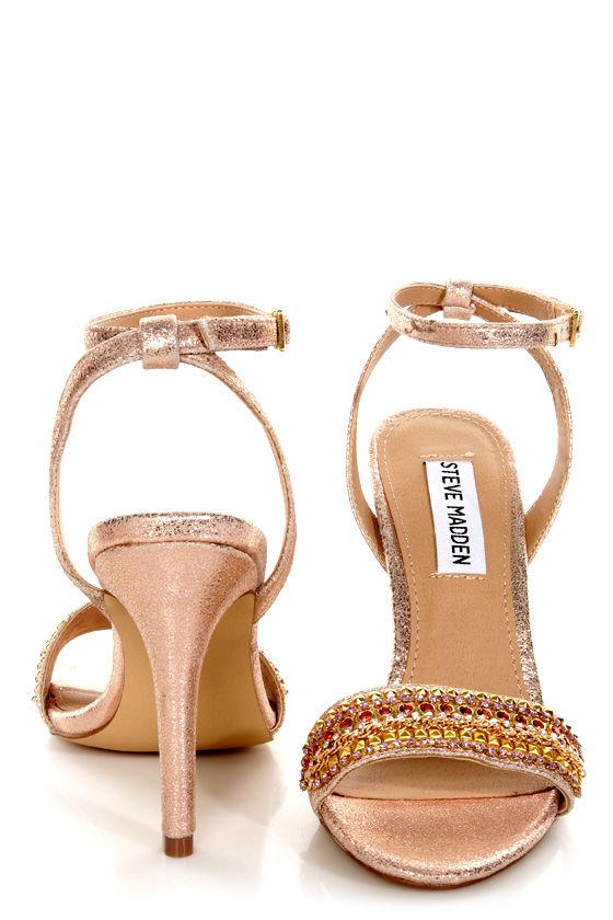 Steve Madden Loverr Gold Rhinestone Embellished Heels at Lulus.com!