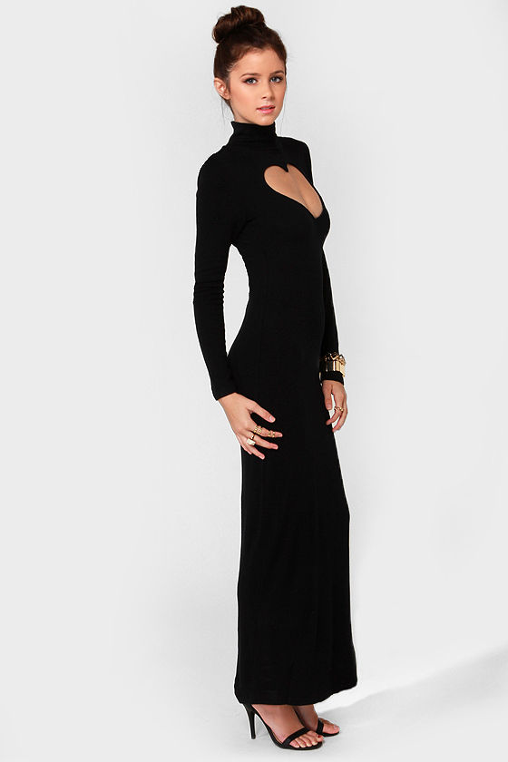 c0b41ea0f417 Cool Black Dress - Turtleneck Dress - Maxi Dress -  93.00
