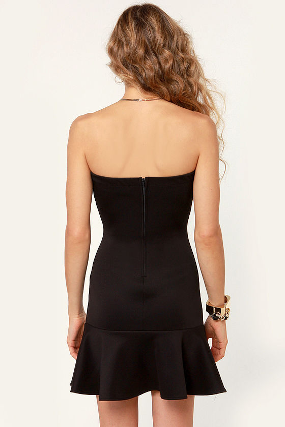 Flaremaster Strapless Black Dress at Lulus.com!