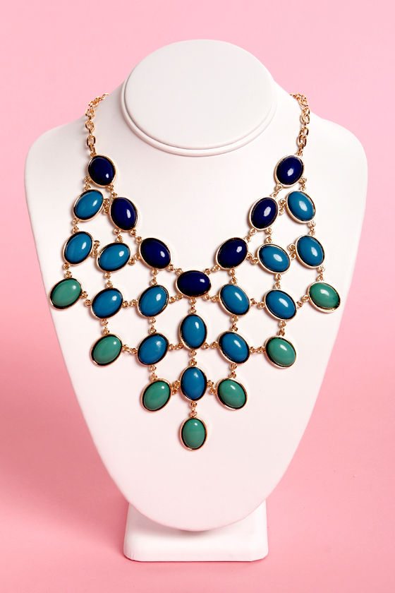 Goody Gumdrops Blue and Green Statement Necklace at Lulus.com!