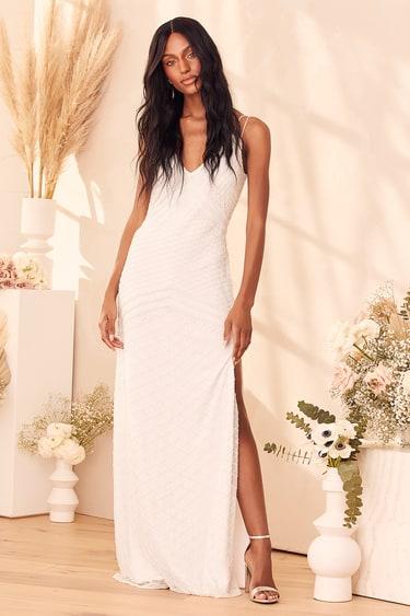 Lovestruck for Life White Beaded Mermaid Maxi Dress