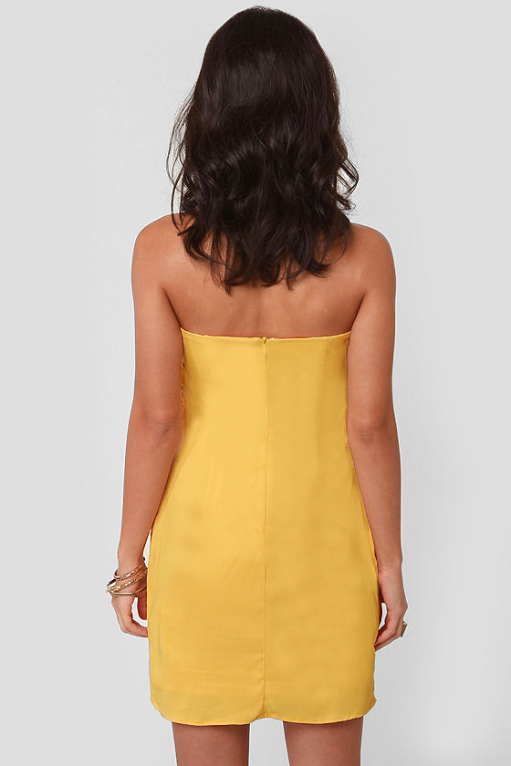 Swept Away Yellow Strapless Dress at Lulus.com!