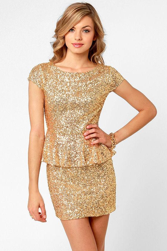 Beautiful Gold Dress - Sequin Dress - Peplum Dress - $57.00
