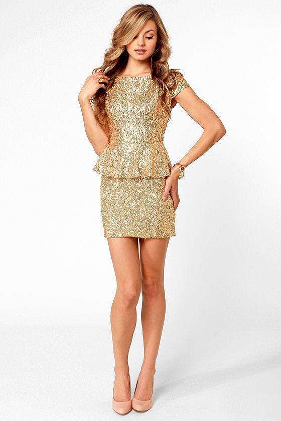 beautiful gold dress sequin dress peplum dress. Black Bedroom Furniture Sets. Home Design Ideas