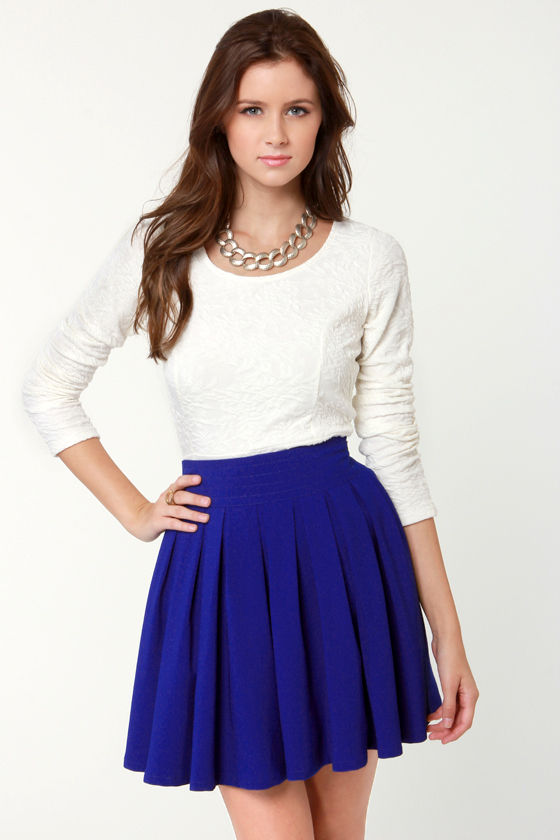Lovely Royal Blue Skirt Mini Skirt 39 00