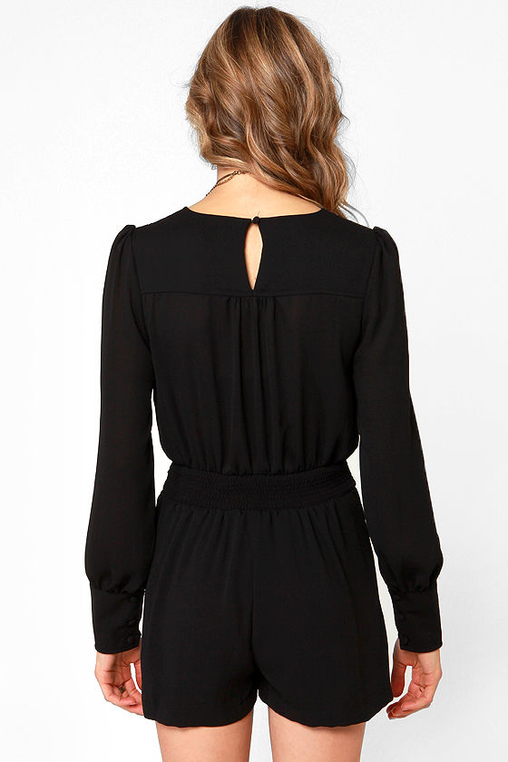 Even Better Black Long Sleeve Romper at Lulus.com!