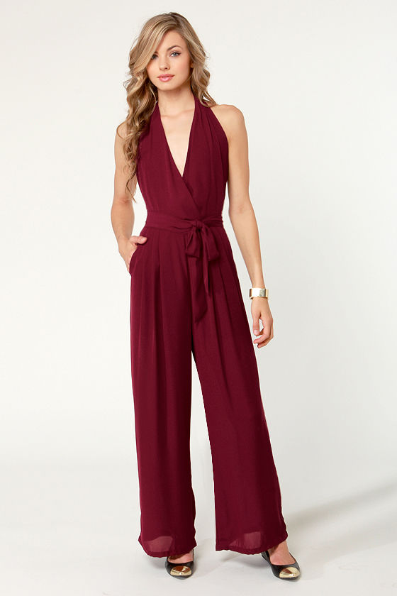 Along for the Stride Backless Burgundy Jumpsuit at Lulus.com!