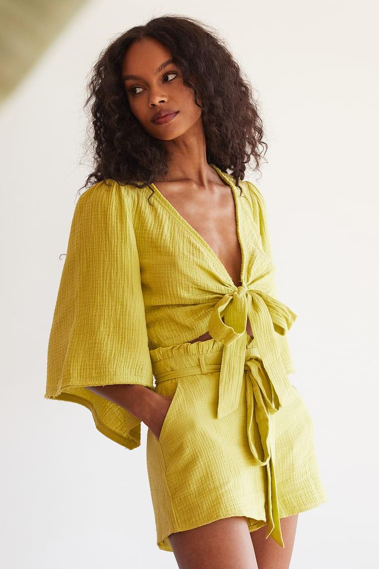Friendship Lime Green Paperbag Waist Shorts