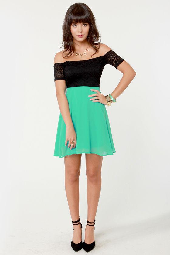 292620e47ef2 Cute Off-the-Shoulder Dress - Sea Green Dress - Black Dress - Lace ...