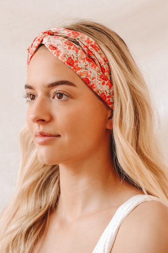 Such a Twist Red Multi Floral Print Knotted Headband