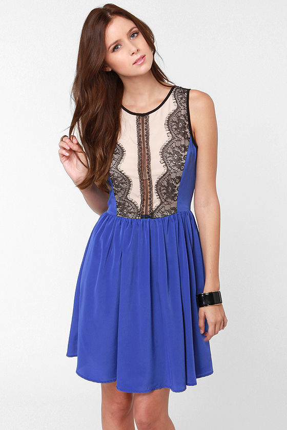 Dance Hall Days Blue Lace Dress at Lulus.com!