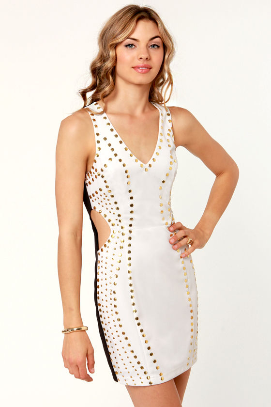 Peek-a Dots Studded White and Black Dress at Lulus.com!