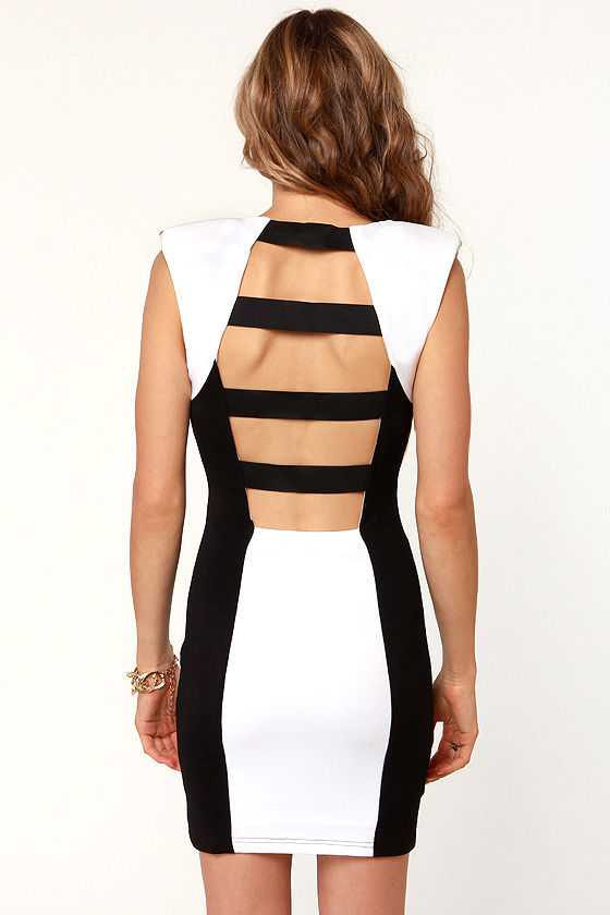 Stud'n Impact Studded Black and White Dress at Lulus.com!