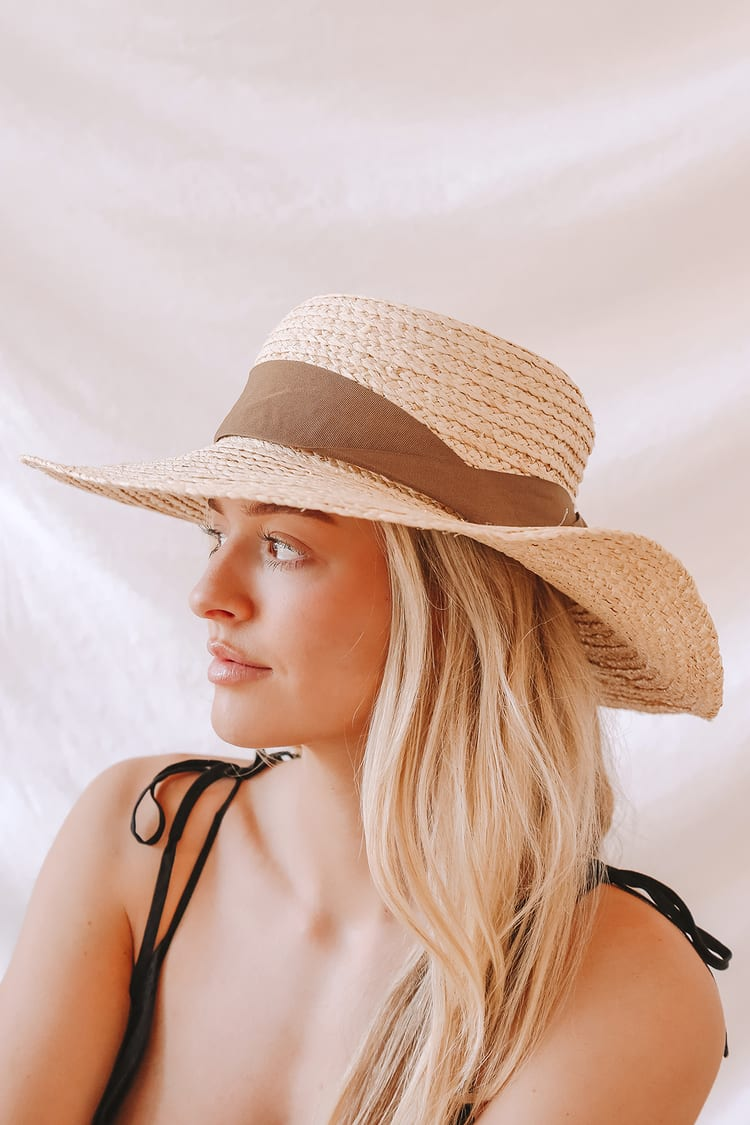 Day on the Water Beige Straw Boater Hat