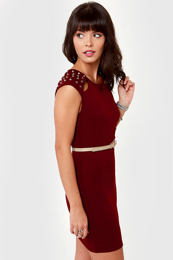 Spike-tacular Studded Burgundy Dress at Lulus.com!