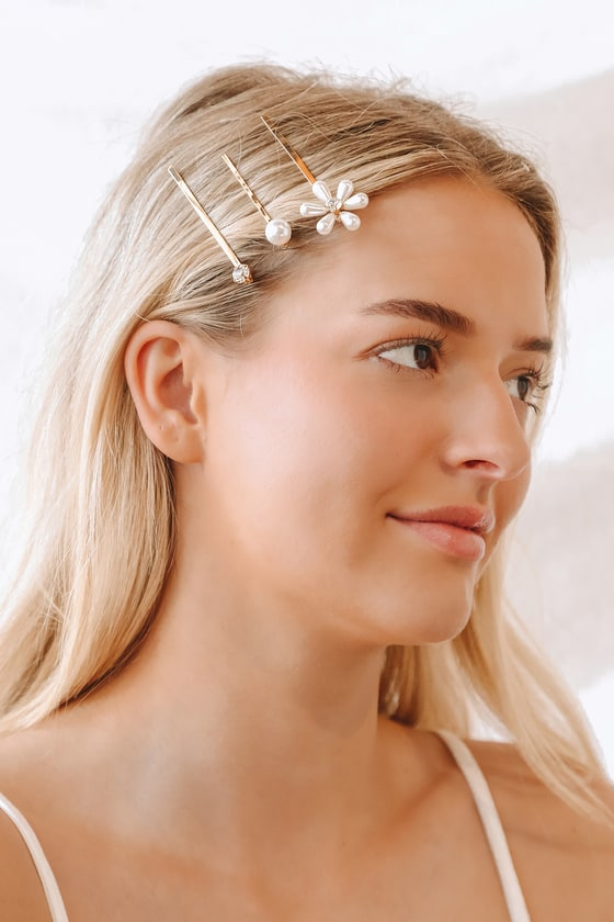 Lulus   Florally Stunning Gold Rhinestone and Pearl Hair Pin Set